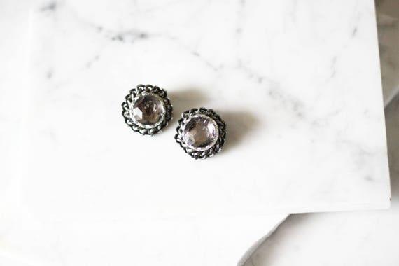 1950s silver chain earrings // 1950s gemstone earrings // vintage earrings