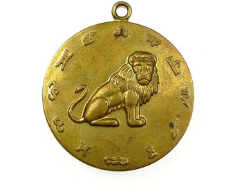 LEO zodiac sign pendant raw brass