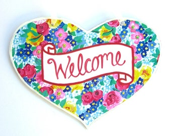 Welcome Sign, Wooden Heart, Decoupage Original Artwork Julia Chintz, Small Gift