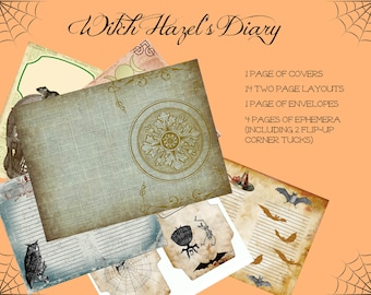 Digital download, INSTANT Download, Printable Book of Shadows, grimoire, journal, diary, book, Witch Hazel's Diary