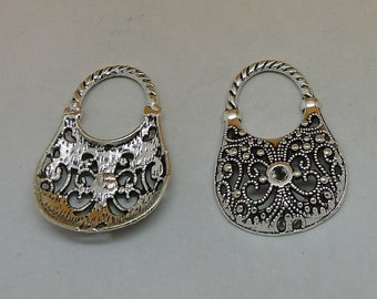 5 Purse Charms Antique Silver Tone Ornate Hand Bag Charms Charm Bracelet Bangle Bracelet Pendants #284