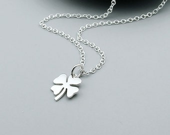 Silver Clover Necklace, Lucky Clover - Good Luck Jewelry, Shamrock Necklace, Four Leaf Clover