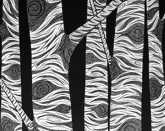 Birch Tree Art Print, Illustration Woodland Rustic Wall Decor Forest Aspen Black and White Nature Wall Art