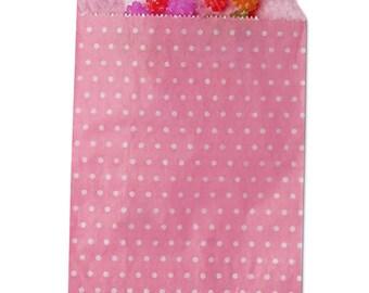 Paper Merchandise Bags, Party Favor Bags, Candy Bags, Party Bags, Paper Bags, Treat Bags - Pink/White Polka Dots