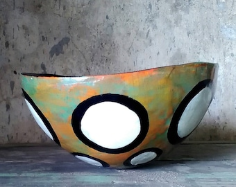 Papier Mache Rustic Bowl in patina of orange and green