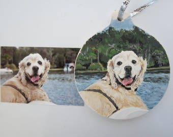 Pet Portrait Ceramic Memorial Ornament Hand Painted and Made to Order Cocker Spaniel or any other breed by Pigatopia
