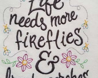 Embroidered Dish Towel - Fireflies