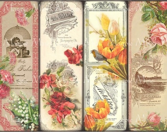 Victorian Floral Bookmarks - Instant Download - Vintage Roses, Daisies, Tulips, Lily of the Valley - 2 x 6 - Vintage Flowers