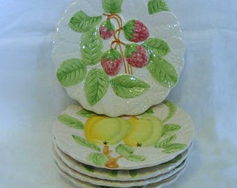 5 STAFFORD FRUIT du JOUR Majolica Ceramic Plates Textured Servers or Wall, Raised Cherry Apple Grapes Plums Strawberries Green Leaves 1987