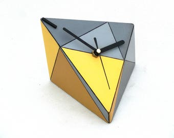 NO TICKING Desk Clock, Wood clock, Unique gift, SILENT Table clock, Geometric Triangle Yellow Grey, Birthday Wedding gift, Gift for him