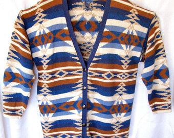 Cambridge Dry Goods Co. Knitted Cardigan Sweater // Blue White & Copper Colored // Cotton/Linen