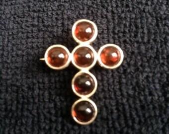 Amber Cross Pin
