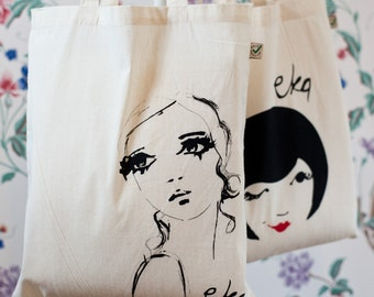 Tote Bag Hand Printed Portrait illustration Organic Coton Watercolour Portrait