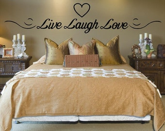 Vinyl Live, Laugh, Love With Heart Wall Decal, Live Laugh Love Inspirational Quotes, Live, Laugh Love Wall Art
