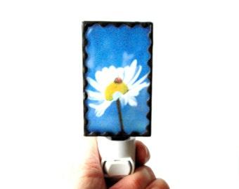 Flower night light, stained glass night light, photo night light, daisy night light, hallway night light, plug in night light,