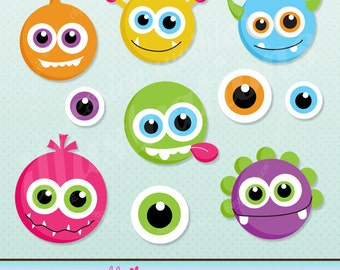 Monster Face Cute Digital Clipart for Card Design, Scrapbooking, and Web Design