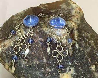 Beautiful Silver Wire and Blue Glass Dangle, Drop Earrings