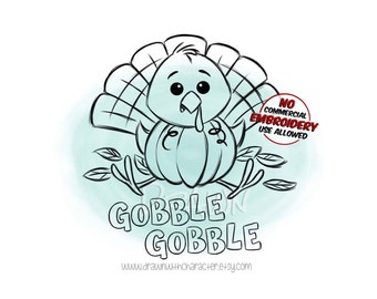 Baby Turkey in a Pumpkin, Fall Image, Digital Stamp/ KopyKake Image/ Coloring Book Image- F21-TURKEY3