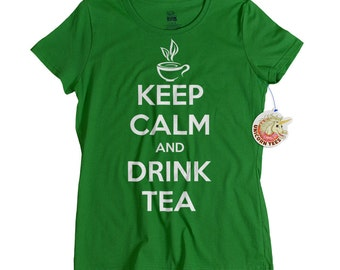 Mothers Day Gifts - Funny Tshirts for Women - Tea Lover Gifts - Keep Calm and Drink Tea T shirt