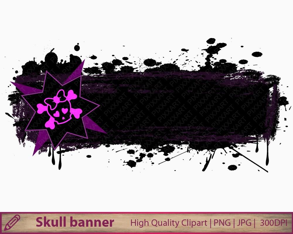 Skull frame clipart cute girly distressed banner clip art