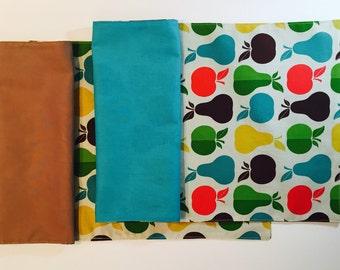 Apple Pear Lunchbox Cloth Napkin Set(2), Waste Free Lunch, Cloth Picnic Napkins, Waldorf Preschool, Kinder Grades Napkins, Work Lunc