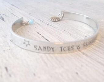 Custom Cuff Bracelet, Custom Metal Cuff, Custom Beach Cuff, Beach Jewelry, Personalized Cuff Bracelet, Personalized Beach Jewelry, Bracelet
