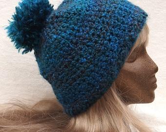 Large turquoise pom pom slouch beanie ski hat