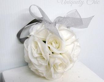 Kissing ball, Silver and white wedding pomander, Wedding decoration, Silk wedding flowers, Wedding decor, Pomander centerpeice