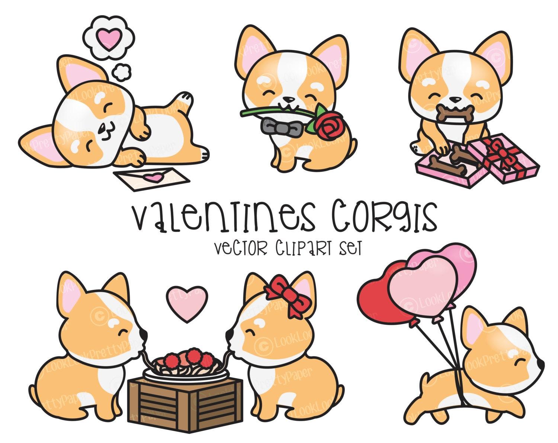 Premium Vector Clipart Kawaii Valentines Corgis Valentines