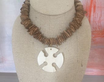 Wood and bone necklace