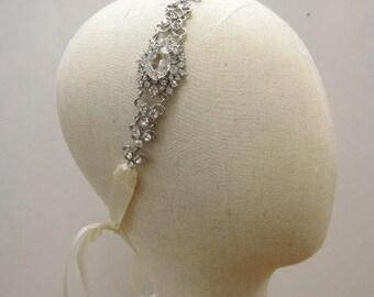 Rhinestone Ribbon Headband,Wedding Headpiece,Rhinestone,Crystal, Accessories, Bridal,Wedding,sparkle Wedding hair accessories,Bridesmaid