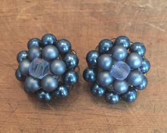 Vintage Cluster Blue Gray Japan Clip Earrings