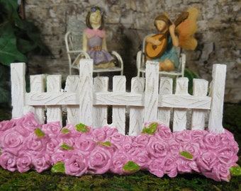 Fairy Accessory White Picket Fence ~ Miniature White Garden Fence and Pink Roses for Fairies ~ Spring Fairy Garden Supplies & Accessories