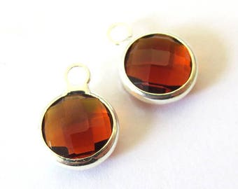 Round charm/pendant set, faceted glass silver metal, 8mm SMOKED TOPAZ