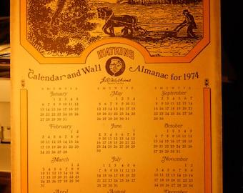 Excellent Collectable Watkins Calendar & Wall Almanac For 1974
