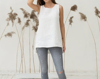 White pure linen top. Oversized loose fit linen shirt. Stonewashed flax tunic, blouse.