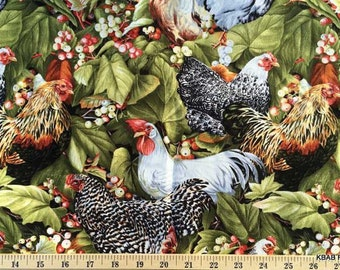 Chicken Fabric Rooster Fabric By the Yard or Half Yard Roosters Berries Fabric Farmhouse Fabric Cotton Quilting Fabric t4/13