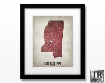 Mississippi State Map Art - Home Town Love Map - Original Custom Map Art Print Available in Multiple Size and Color Options