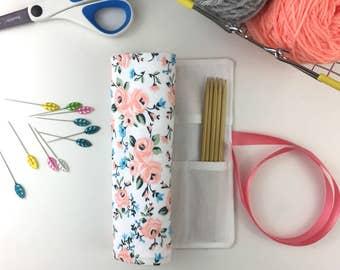 Knitting Needle Case, Knitting Needle Organizer, Needle Storage, Crochet Hook Case, DPN Holder, DPN Case, White Floral Cotton