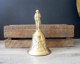 Vintage Embossed Brass Plated Cast Metal Bell - Colonial Cavalry Theme