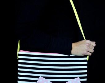 black/white striped bow handbag