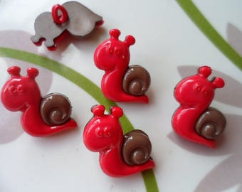 LOT 6 buttons: snail red/brown 22mm