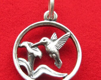 Retired James Avery Sterling Silver 925 Hummingbird with Flower Garden Charm