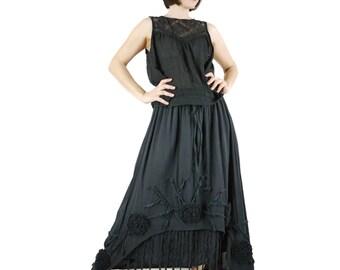 Funky Boho Gpysy Hippie Floral Applique Black Double Layer Light Cotton skirt Size 8  To Size 20