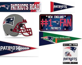 Patriots Fan Pack Set Includes Mini Pennant, Small Pennant, Large Pennant, 1 Fan License Plate, Die Cut Helmet, Steet Sign, & Stickers