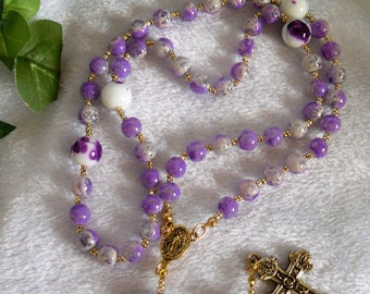 Gold and Purple  Rosary  N-114