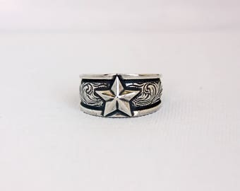 Rockin Out Jewelry - Texan - Sterling Silver - Western Style - Texas - Antiqued - Unisex - Mens - Womens - Star Ring - Antiqued - Valentines