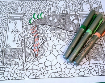 Coloring Page Doodle Castle Scene Nature Design Adult Kids Printable Drawing Art Activity
