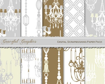 Scrapbook Paper Pack Digital Scrapbooking Background Papers Intricate French Paris CHANDELIERs 10 Sheets 8.5 x 11 GRAY Brown White #2212gg