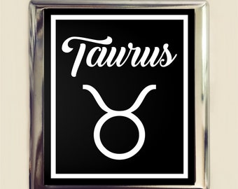 Taurus Zodiac Sign Cigarette Case Business Card ID Holder Wallet Astrology Astrological New Age Spirituality